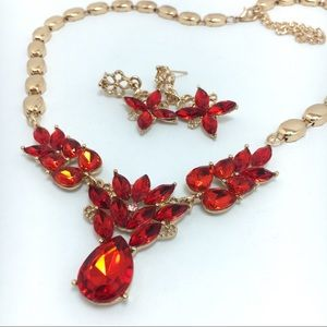 Red Gold Crystal Necklace Set